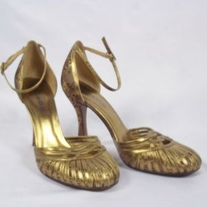 bebe Gold Closed Toe Ankle Strap Fabric Heels